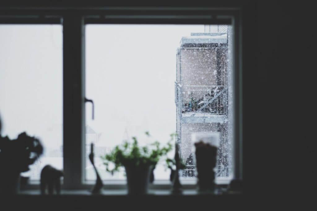 window with snow